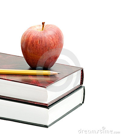 Red apple and pencil on books