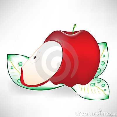 Red apple and slice