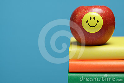 Red apple with a smiley face