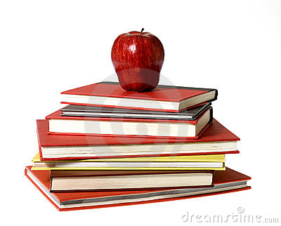 Red Apple on top of pile of Books