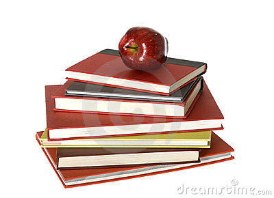 Red Apple on top of pile of Seven Books