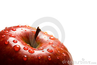 Red apple with water-drops