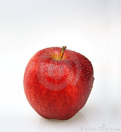 Red apple with water drops