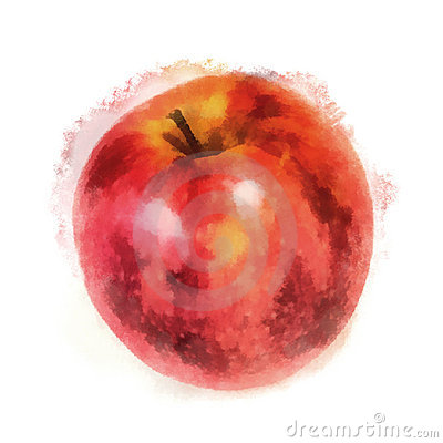 Red apple, watercolor painting