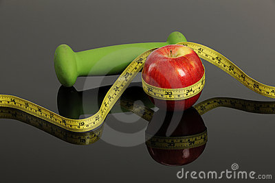 Red Apple, weight and measurement tape