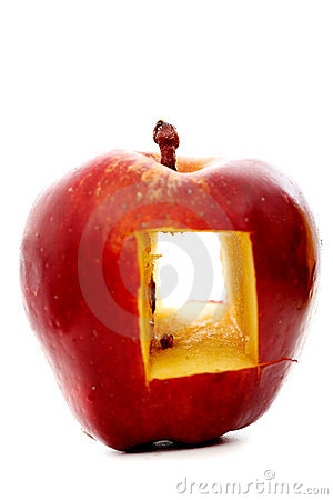 Red apple with a window