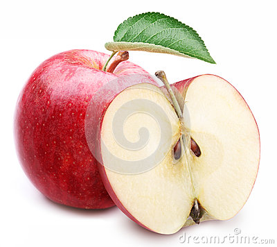 Free Red Apple With Leaf And Slice. Royalty Free Stock Images - 29914299