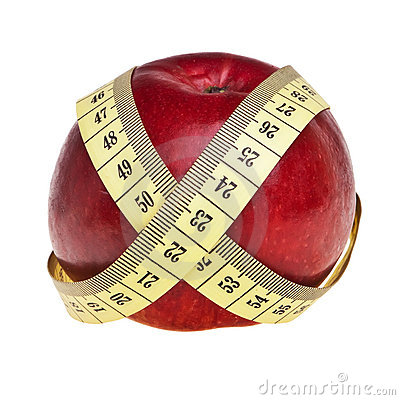 Red apple wrapped with yellow measurement tape.
