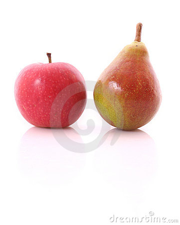 Red apple and yellow-green pear isolated