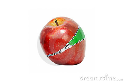 Red apple with zipper