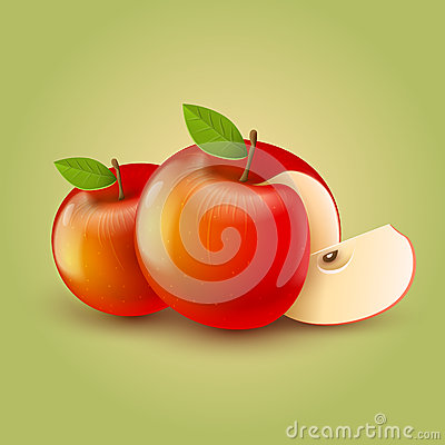 Red apples with cut