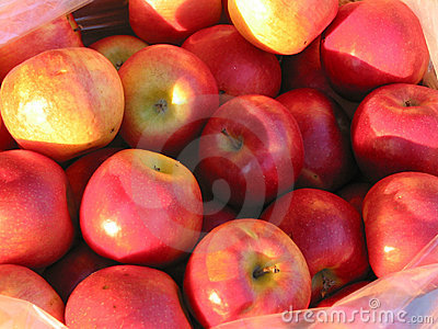 Red apples at farmer s market