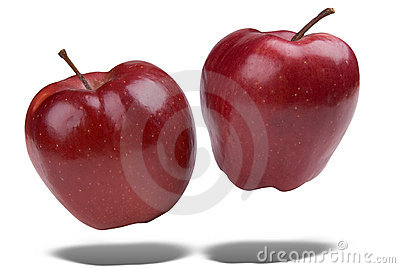 Red apples floating