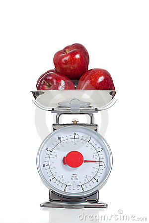 Free Red Apples On A Scale On White Stock Photography - 13861552