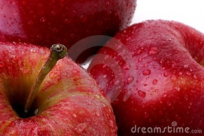 Red Apples with Water Drops