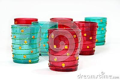 Red & aqua candleholders