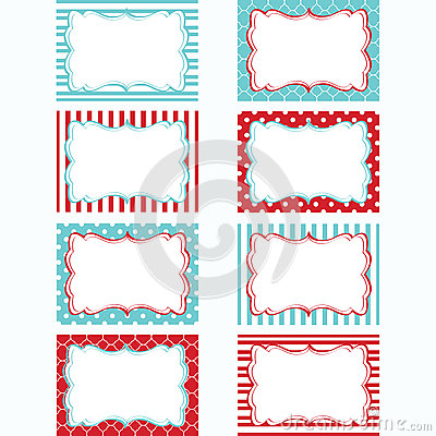 Red And Aqua Printable Labels Set.Tags,Photo Frame, Gift Tags ...