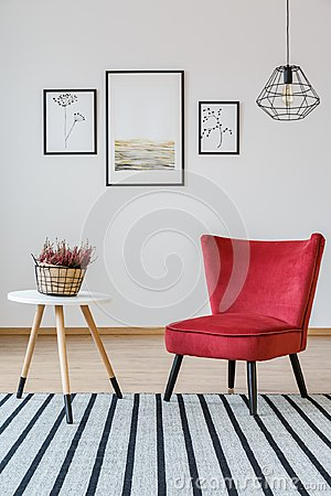 Free Red Armchair In Living Room Royalty Free Stock Photo - 111112895