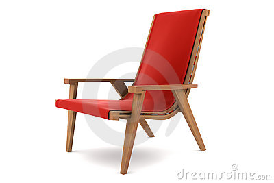Red armchair isolated on white background