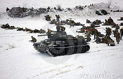 Red Army attack. Reconstruction of the WW II, 1943 Editorial Image