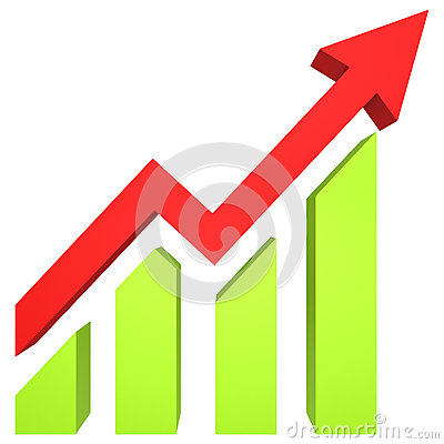 Free Red Arrow And Bar Chart Moves Up Royalty Free Stock Image - 62401526