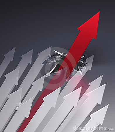 Free Red Arrow Breaks Through Glass Ceiling Royalty Free Stock Photo - 12596505