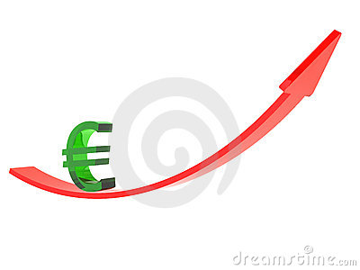 Red arrow and euro sign up
