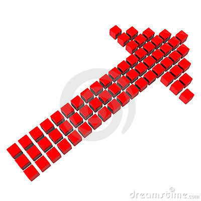 Red arrow made of cubes