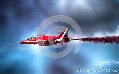 Red arrows display at Farnborough UK Editorial Stock Image