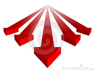 Red arrows group with leader on white background