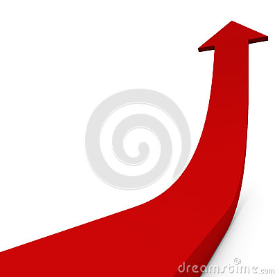 Red ascending arrow