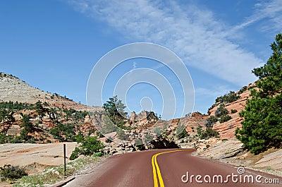 Red asphalt in national park
