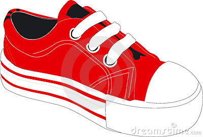 Red athletic shoe