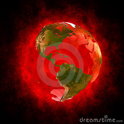 Red aura of Earth - America