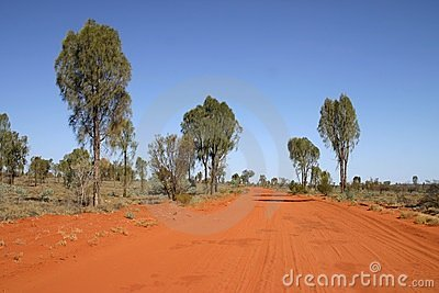 Red Australian rural road