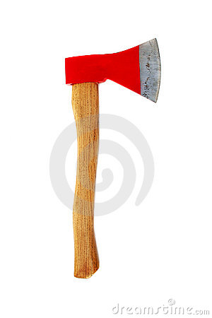 Red axe isolated