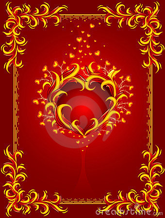 Red Background With Burning Heart And Frame Royalty Free Stock Photo - Image: 12558045