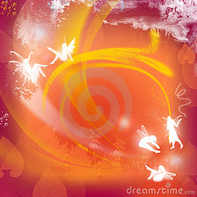 Red background with fairies