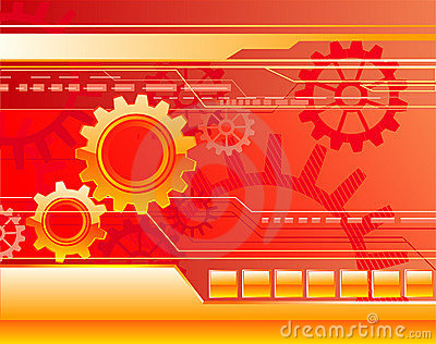 Red background with gears