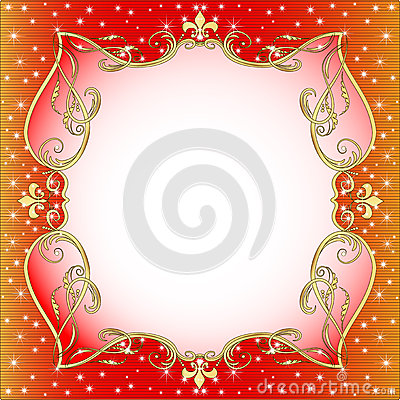 Red  background with gold (en) an ornament
