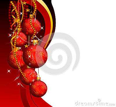 Red background with jingle balls