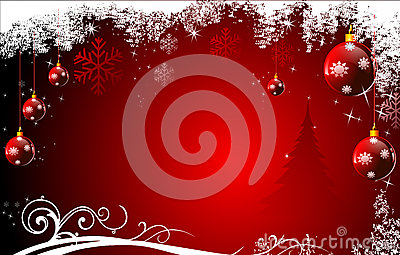 Red background with jingle balls and stars