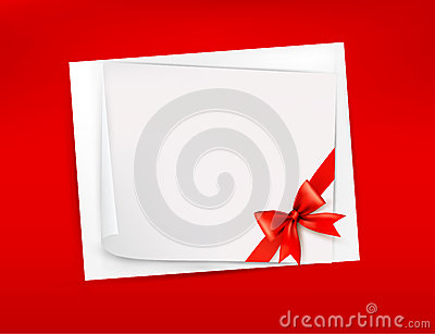 Red background with sheet of paper