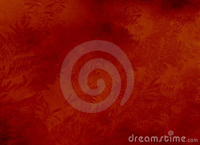 Red background texture with ferns