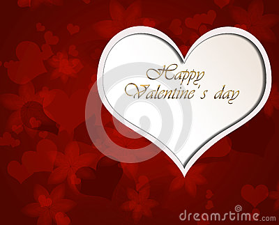 Red background with Valentine heart.
