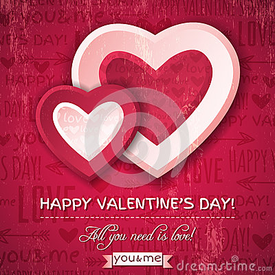 Free Red Background With  Two Valentine Hearts And Wish Royalty Free Stock Photos - 36118788