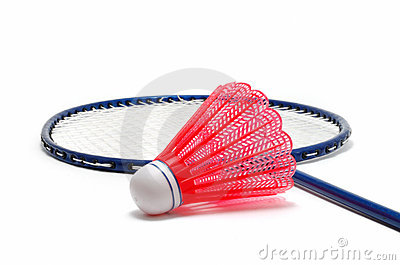 Red Badminton Shuttlecock (Birdie) and Racket