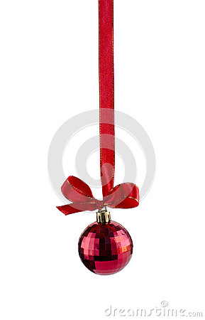 Free Red Ball Hanging On  Red Ribbon Royalty Free Stock Photography - 44745377