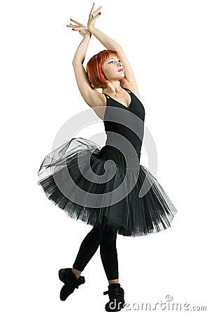 Red ballerina wearing black tutu