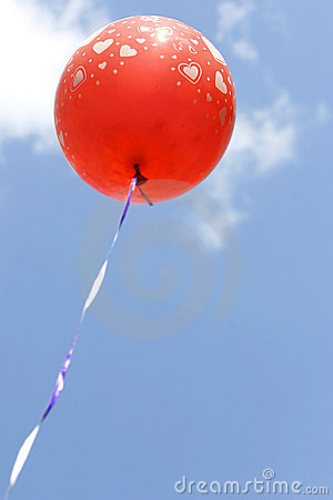 Red ballon with hearts